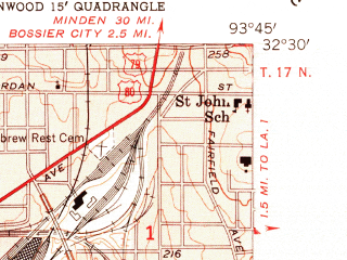 Reduced fragment of topographic map en--usgs--024k--041211--(1955)--N032-30-00_W093-52-30--N032-22-30_W093-45-00; towns and cities Shreveport