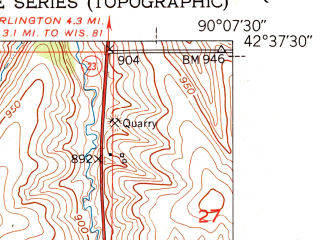 Reduced fragment of topographic map en--usgs--024k--041222--(1952)--N042-37-30_W090-15-00--N042-30-00_W090-07-30; towns and cities Shullsburg
