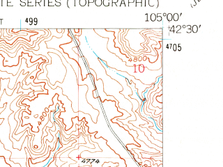 Reduced fragment of topographic map en--usgs--024k--041248--(1961)--N042-30-00_W105-07-30--N042-22-30_W105-00-00