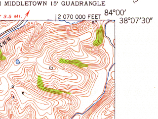 Reduced fragment of topographic map en--usgs--024k--041258--(1952)--N038-07-30_W084-07-30--N038-00-00_W084-00-00