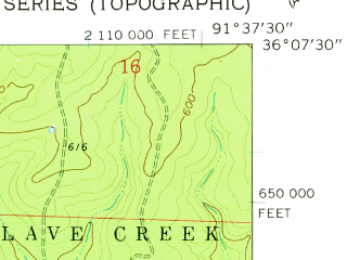 Reduced fragment of topographic map en--usgs--024k--041262--(1962)--N036-07-30_W091-45-00--N036-00-00_W091-37-30; towns and cities Sidney