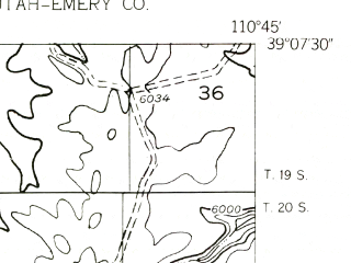 Reduced fragment of topographic map en--usgs--024k--041274--(1953)--N039-07-30_W110-52-30--N039-00-00_W110-45-00