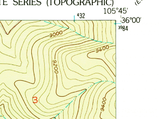 Reduced fragment of topographic map en--usgs--024k--041293--(1953)--N036-00-00_W105-52-30--N035-52-30_W105-45-00