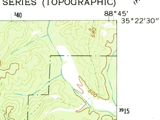 Reduced fragment of topographic map en--usgs--024k--041331--(1961)--N035-22-30_W088-52-30--N035-15-00_W088-45-00; towns and cities Silerton