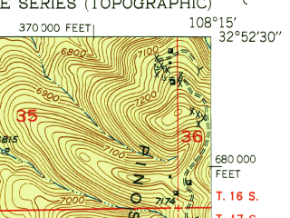 Reduced fragment of topographic map en--usgs--024k--041362--(1951)--N032-52-30_W108-22-30--N032-45-00_W108-15-00; towns and cities Silver City