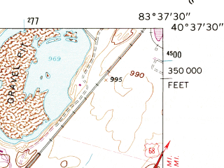 Reduced fragment of topographic map en--usgs--024k--041370--(1960)--N040-37-30_W083-45-00--N040-30-00_W083-37-30; towns and cities Belle Center