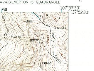 Reduced fragment of topographic map en--usgs--024k--041423--(1955)--N037-52-30_W107-45-00--N037-45-00_W107-37-30; towns and cities Silverton