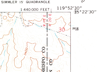Reduced fragment of topographic map en--usgs--024k--041437--(1959)--N035-22-30_W120-00-00--N035-15-00_W119-52-30; towns and cities California Valley, Simmler