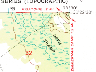 Reduced fragment of topographic map en--usgs--024k--041457--(1954)--N031-22-30_W093-07-30--N031-15-00_W093-00-00; towns and cities Simpson
