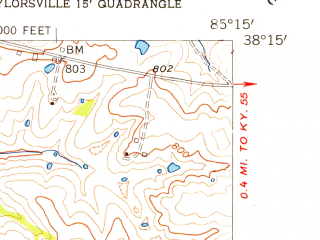 Reduced fragment of topographic map en--usgs--024k--041462--(1954)--N038-15-00_W085-22-30--N038-07-30_W085-15-00; towns and cities Simpsonville