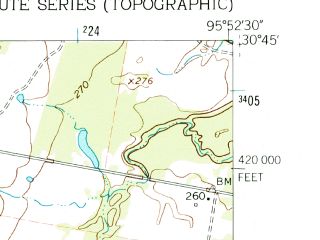 Reduced fragment of topographic map en--usgs--024k--041477--(1961)--N030-45-00_W096-00-00--N030-37-30_W095-52-30