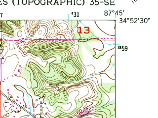 Reduced fragment of topographic map en--usgs--024k--041485--(1954)--N034-52-30_W087-52-30--N034-45-00_W087-45-00