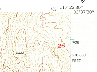 Reduced fragment of topographic map en--usgs--024k--041530--(1954)--N033-37-30_W117-30-00--N033-30-00_W117-22-30
