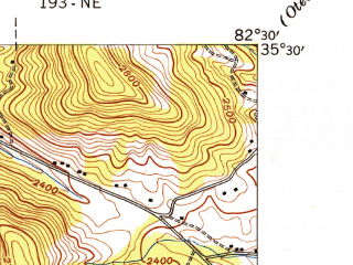 Reduced fragment of topographic map en--usgs--024k--041640--(1943)--N035-30-00_W082-37-30--N035-22-30_W082-30-00; towns and cities Avery Creek, Fletcher, Royal Pines