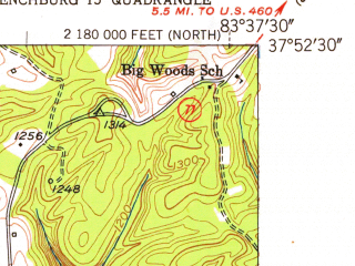 Reduced fragment of topographic map en--usgs--024k--041647--(1952)--N037-52-30_W083-45-00--N037-45-00_W083-37-30