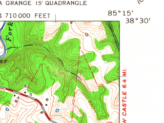 Reduced fragment of topographic map en--usgs--024k--041794--(1961)--N038-30-00_W085-22-30--N038-22-30_W085-15-00; towns and cities Smithfield
