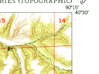 Reduced fragment of topographic map en--usgs--024k--041797--(1948)--N040-30-00_W090-22-30--N040-22-30_W090-15-00; towns and cities Smithfield