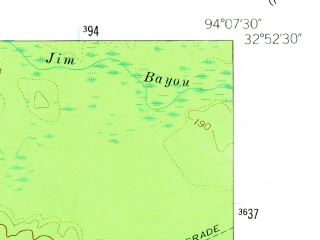 Reduced fragment of topographic map en--usgs--024k--041800--(1962)--N032-52-30_W094-15-00--N032-45-00_W094-07-30