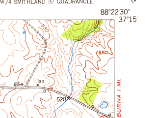 Reduced fragment of topographic map en--usgs--024k--041801--(1954)--N037-15-00_W088-30-00--N037-07-30_W088-22-30; towns and cities Hamletsburg, Smithland