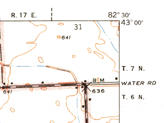 Reduced fragment of topographic map en--usgs--024k--041804--(1939)--N043-00-00_W082-37-30--N042-52-30_W082-30-00; towns and cities Sparlingville