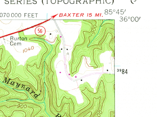 Reduced fragment of topographic map en--usgs--024k--041812--(1960)--N036-00-00_W085-52-30--N035-52-30_W085-45-00; towns and cities Smithville