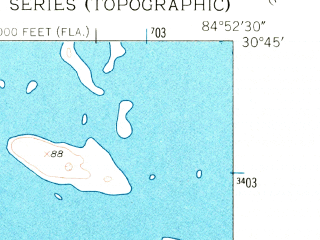 Reduced fragment of topographic map en--usgs--024k--041869--(1954)--N030-45-00_W085-00-00--N030-37-30_W084-52-30 in area of Ocheesee Pond; towns and cities Sneads