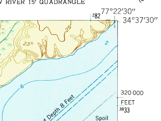 Reduced fragment of topographic map en--usgs--024k--041870--(1952)--N034-37-30_W077-30-00--N034-30-00_W077-22-30; towns and cities Sneads Ferry