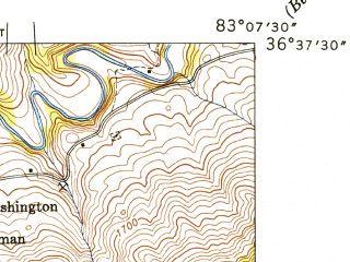 Reduced fragment of topographic map en--usgs--024k--041873--(1947)--N036-37-30_W083-15-00--N036-30-00_W083-07-30; towns and cities Sneedville