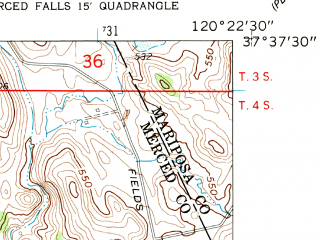 Reduced fragment of topographic map en--usgs--024k--041876--(1962)--N037-37-30_W120-30-00--N037-30-00_W120-22-30