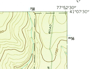 Reduced fragment of topographic map en--usgs--024k--041913--(1960)--N041-07-30_W078-00-00--N041-00-00_W077-52-30; towns and cities Snow Shoe