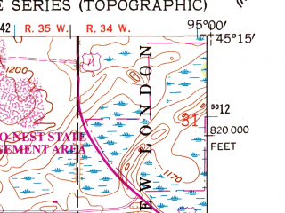 Reduced fragment of topographic map en--usgs--024k--042034--(1958)--N045-15-00_W095-07-30--N045-07-30_W095-00-00 in area of Long Lake, Lake Florida Slough, Foot Lake; towns and cities Willmar