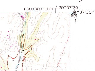Reduced fragment of topographic map en--usgs--024k--042045--(1959)--N034-37-30_W120-15-00--N034-30-00_W120-07-30; towns and cities Solvang