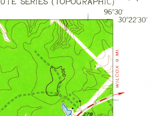 Reduced fragment of topographic map en--usgs--024k--042066--(1959)--N030-22-30_W096-37-30--N030-15-00_W096-30-00; towns and cities Somerville