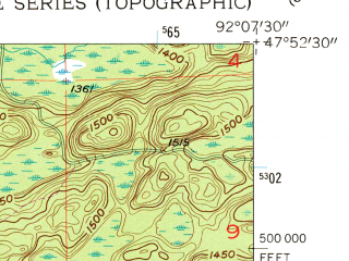 Reduced fragment of topographic map en--usgs--024k--042121--(1956)--N047-52-30_W092-15-00--N047-45-00_W092-07-30