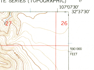 Reduced fragment of topographic map en--usgs--024k--042135--(1959)--N032-37-30_W107-15-00--N032-30-00_W107-07-30