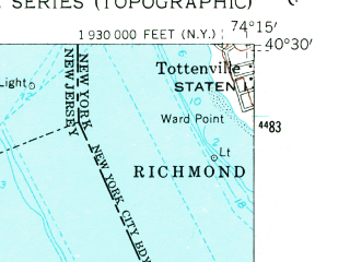 Reduced fragment of topographic map en--usgs--024k--042136--(1954)--N040-30-00_W074-22-30--N040-22-30_W074-15-00; towns and cities Old Bridge, Sayreville, South Amboy, Madison Park