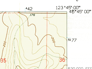Reduced fragment of topographic map en--usgs--024k--042146--(1957)--N046-45-00_W123-52-30--N046-37-30_W123-45-00; towns and cities South Bend