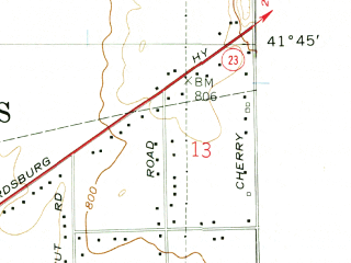 Reduced fragment of topographic map en--usgs--024k--042148--(1958)--N041-45-00_W086-15-00--N041-37-30_W086-07-30; towns and cities Granger, Mishawaka, Indian Village