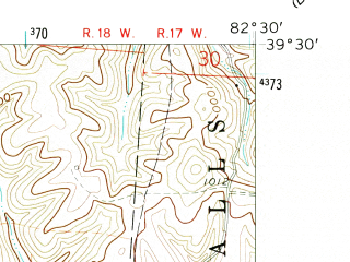 Reduced fragment of topographic map en--usgs--024k--042153--(1961)--N039-30-00_W082-37-30--N039-22-30_W082-30-00