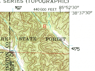 Reduced fragment of topographic map en--usgs--024k--042156--(1955)--N038-37-30_W086-00-00--N038-30-00_W085-52-30