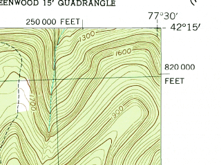 Reduced fragment of topographic map en--usgs--024k--042162--(1954)--N042-15-00_W077-37-30--N042-07-30_W077-30-00