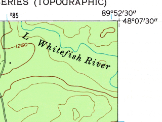 Reduced fragment of topographic map en--usgs--024k--042185--(1960)--N048-07-30_W090-00-00--N048-00-00_W089-52-30
