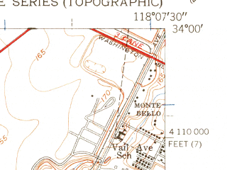 Reduced fragment of topographic map en--usgs--024k--042189--(1949)--N034-00-00_W118-15-00--N033-52-30_W118-07-30; towns and cities Lynwood, Bellflower, South Gate, Bell, Maywood