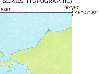 Reduced fragment of topographic map en--usgs--024k--042207--(1960)--N048-07-30_W090-37-30--N048-00-00_W090-30-00 in area of South Lake