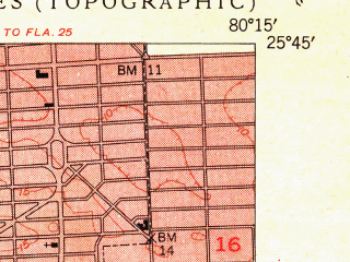 Reduced fragment of topographic map en--usgs--024k--042214--(1950)--N025-45-00_W080-22-30--N025-37-30_W080-15-00; towns and cities Kendall, Olympia Heights, Coral Gables, Westchester, Westwood Lakes