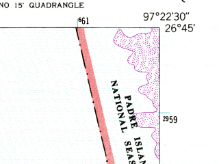 Reduced fragment of topographic map en--usgs--024k--042250--(1952)--N026-45-00_W097-30-00--N026-37-30_W097-22-30