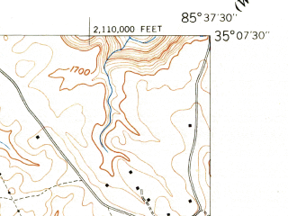 Reduced fragment of topographic map en--usgs--024k--042270--(1943)--N035-07-30_W085-45-00--N035-00-00_W085-37-30; towns and cities Jasper, Kimball, New Hope