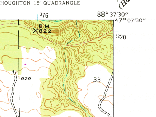 Reduced fragment of topographic map en--usgs--024k--042277--(1946)--N047-07-30_W088-45-00--N047-00-00_W088-37-30; towns and cities South Range