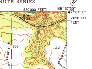 Reduced fragment of topographic map en--usgs--024k--042277--(1948)--N047-07-30_W088-45-00--N047-00-00_W088-37-30; towns and cities South Range