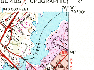 Reduced fragment of topographic map en--usgs--024k--042284--(1957)--N039-00-00_W076-37-30--N038-52-30_W076-30-00; towns and cities Annapolis, Parole, Londontowne, Mayo, Riva
